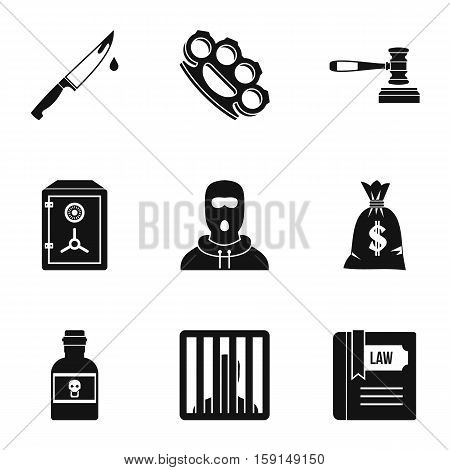 Illegal action icons set. Simple illustration of 9 illegal action vector icons for web