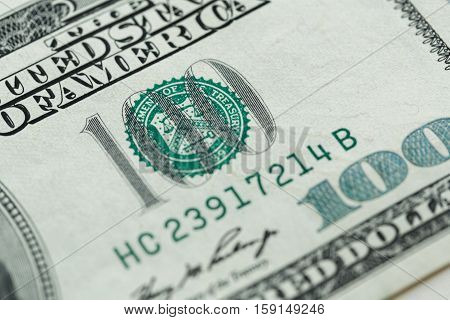 Closeup of 100 dollars bill in US currency