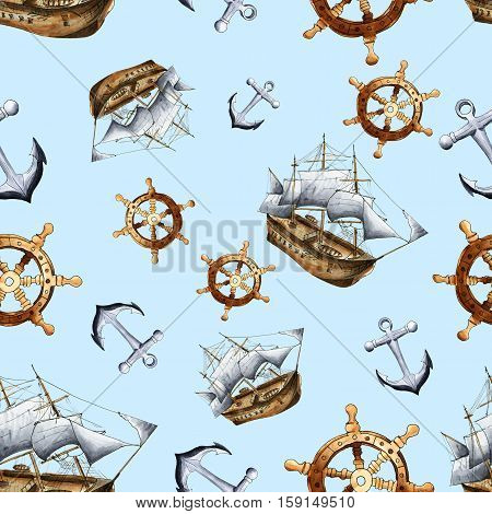 Sketch sea navigation seamless pattern. Hand painted sea life texture with anchor ship and steering wheel