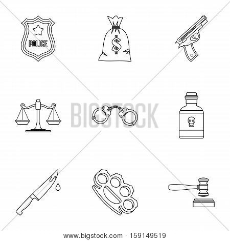 Crime icons set. Outline illustration of 9 crime vector icons for web