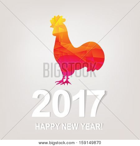 Happy New Year Postcard, With Gradient Mesh, Vector Illustration