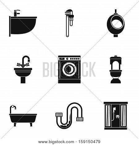 Sanitary appliances icons set. Simple illustration of 9 sanitary appliances vector icons for web
