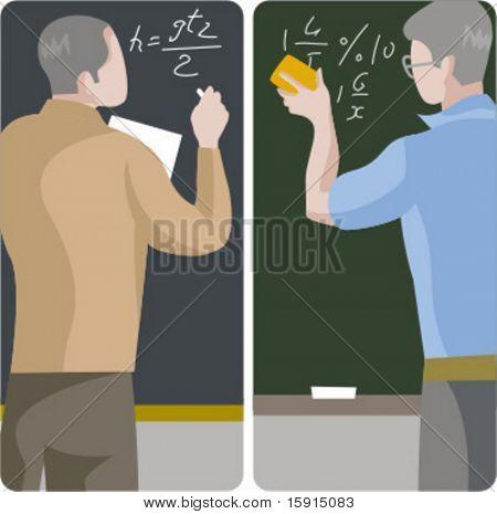 Teacher illustrations series.  1) Math teacher solving a mathematical problem on a blackboard. 2) Math teacher erasing blackboard.