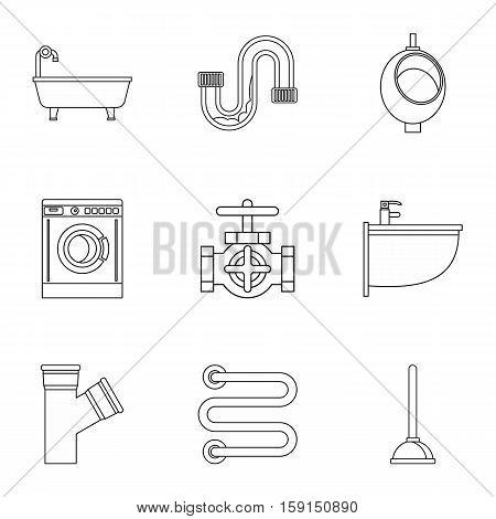 Equipment for bathroom icons set. Outline illustration of 9 equipment for bathroom vector icons for web
