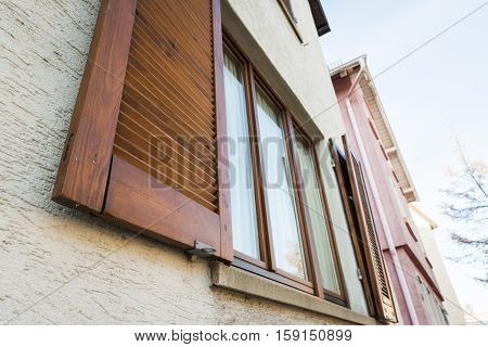 European Windows Wooden Shutters Old House Texture Outdoors Exterior