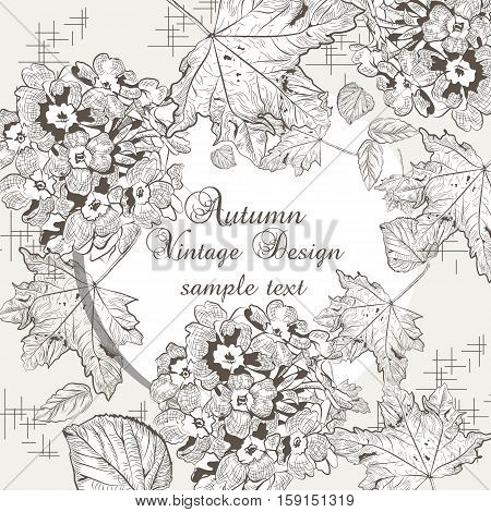 Autumn background with flowers and leaves. Vector fall season card. Old engraved illustration. Hand drawn ink technique