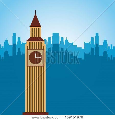 big ben monument of london city. colorful design. vector illustration