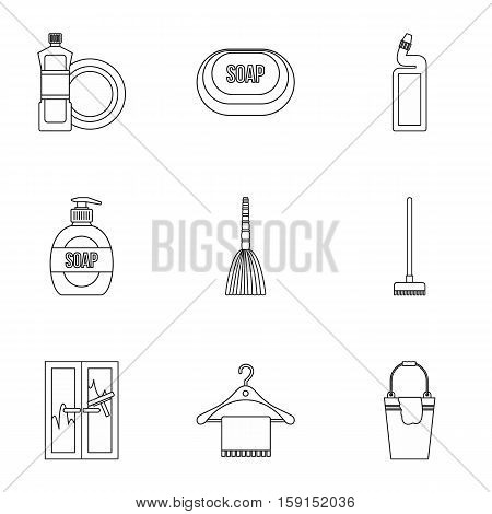 Sanitary day icons set. Outline illustration of 9 sanitary day vector icons for web