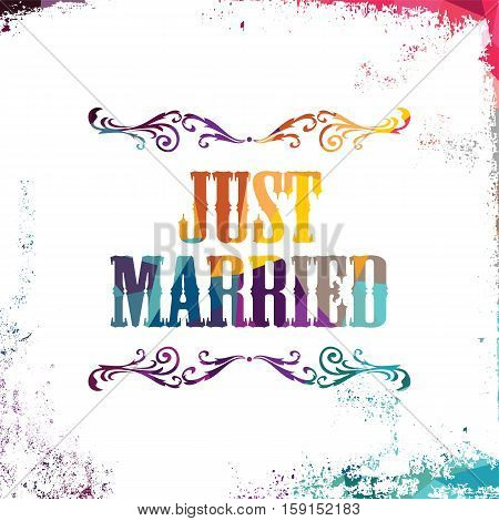 just married bstract colorful triangle geometrical greetings vector illustration