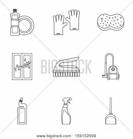 House cleaning icons set. Outline illustration of 9 house cleaning vector icons for web