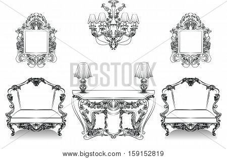 Exquisite Fabulous Imperial Baroque Interior collection set furniture. Vector French Luxury rich intricate ornamented structure. Victorian Royal Style decor