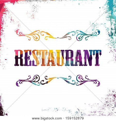 restaurant sign bstract colorful triangle geometrical vector illustration