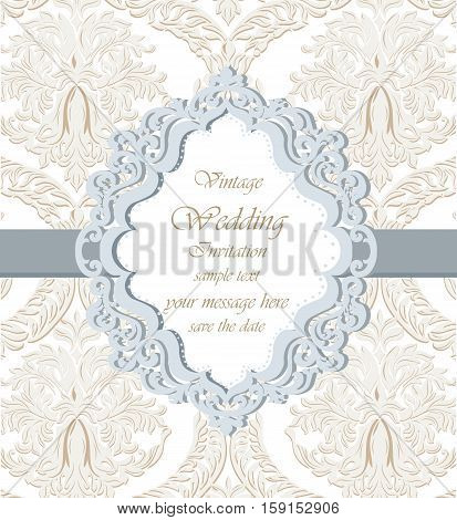 Vector Damask Lace Invitation card with floral ornament. Delicate intricate decorated card for wedding ceremonies, anniversary, events. Pastel trendy colors