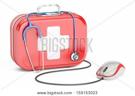 First Aid Kit and computer mouse. First Aid online concept 3D rendering isolated on white background