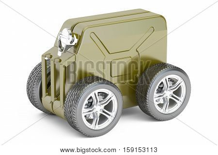 green jerry can with gasoline isolated on white background. 3D rendering