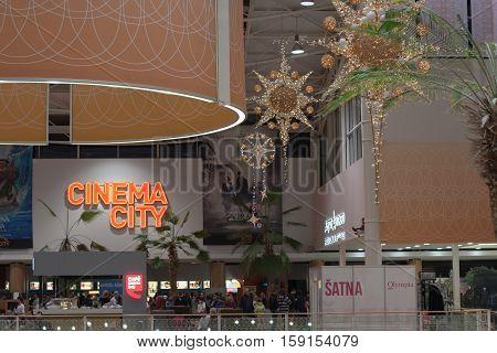BRNO,CZECH REPUBLIC-NOVEMBER 19,2016:Christmas decorations at shopping center Olympia on November 19 ,2016 Brno Czech Republic