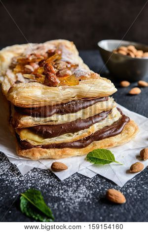 Chocolate And Caramelized Almond Mille-feuille