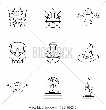 Terrible holiday icons set. Outline illustration of 9 terrible holiday vector icons for web
