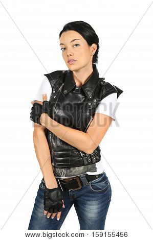 Young woman in a black leather vest isolated on white background