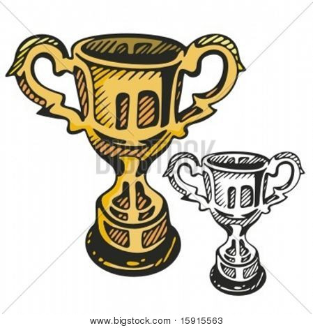 Gold cup. Vector illustration