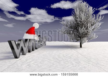 rendered winter landscape with tree ice inscription and Santa Claus cap, 3d rendering