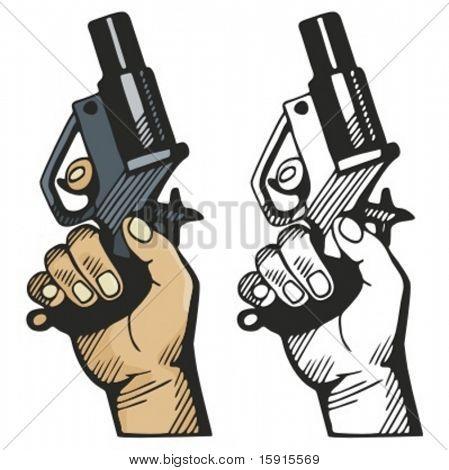 Pistol signaling the race start. Vector illustration