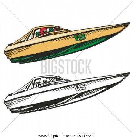 Motor boat. Vector illustration