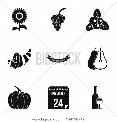 Public holiday of USA icons set. Simple illustration of 9 public holiday of USA vector icons for web
