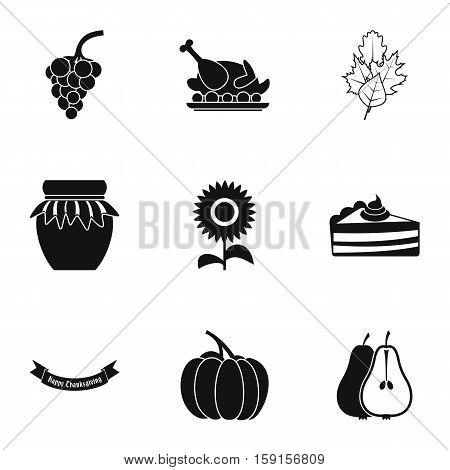 Thanksgiving feast icons set. Simple illustration of 9 thanksgiving feast vector icons for web