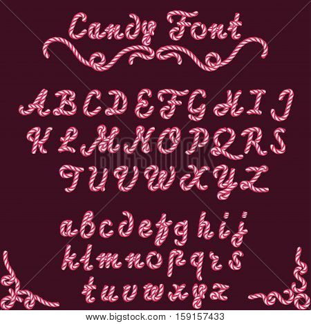Candy font sweet striped type, cherry candy-style hand written alphabet from A to Z, Abstract Pink Shade Mint hard candy-cane letters in Christmas colors. Vector