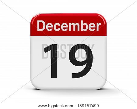 Calendar web button - The Nineteenth of December - International Day to Assist the Poor three-dimensional rendering 3D illustration