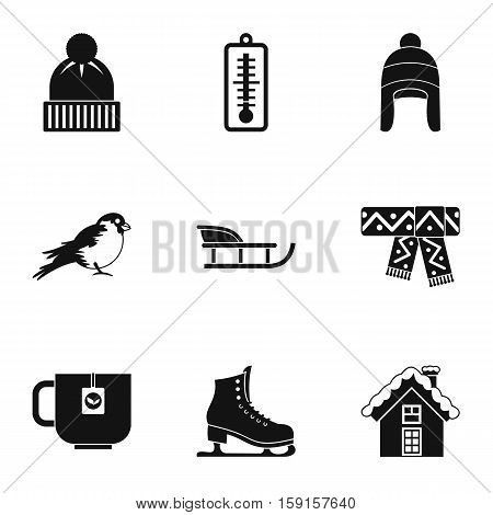 Winter frost icons set. Simple illustration of 9 winter frost vector icons for web