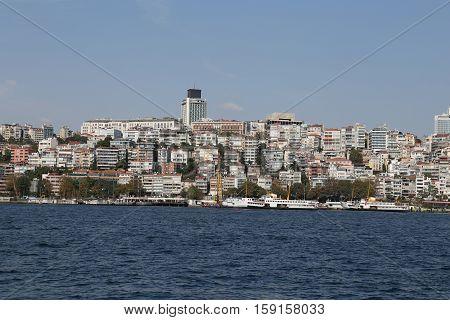 Bosphorus Strait and Karakoy district in Istanbul city Turkey