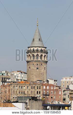 Galata Tower in Galata District Istanbul City Turkey