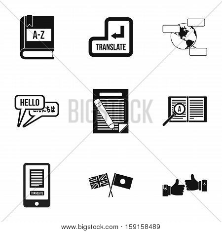 Translation icons set. Simple illustration of 9 translation vector icons for web