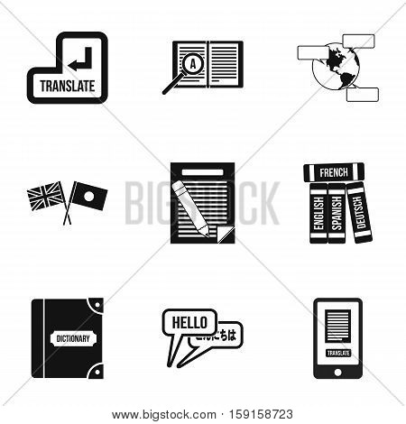 Translation of language icons set. Simple illustration of 9 translation of language vector icons for web