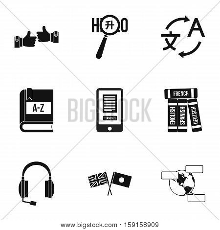Languages icons set. Simple illustration of 9 language vector icons for web
