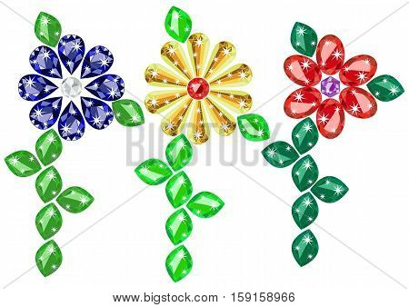 Jewelry colorful flowers from precious gems in different cuts isolated on white background. Vector illustration