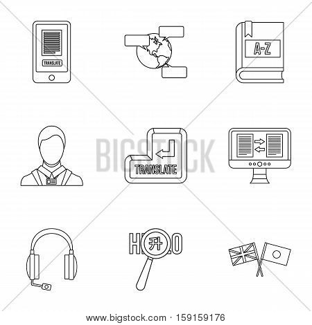Language learning icons set. Outline illustration of 9 language learning vector icons for web