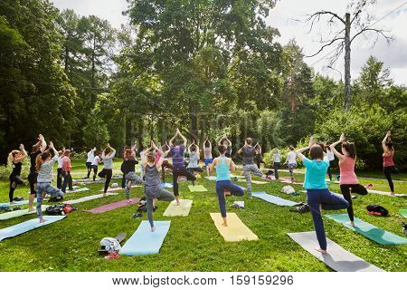 MOSCOW, RUSSIA - JUL 09, 2016: Men and women make exercises during yoga training on grass at summer day in park. Yoga is a group of practices which originated in ancient India.