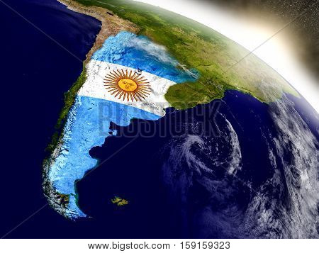 Argentina With Flag In Rising Sun