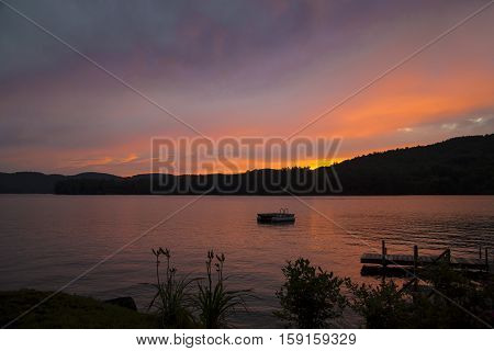Sunset and Colorful Clouds at Squam Lake, New Hampshire