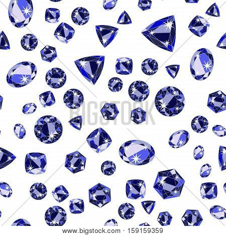 Seamless pattern with deep blue scattered precious gem Sapphire from different cuts on white background. Vector illustration