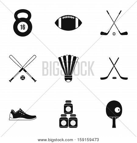 Sports accessories icons set. Simple illustration of 9 sports accessories vector icons for web