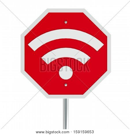 Stop sign with WiFi sign on a white table represents No network signal and No covering three-dimensional rendering 3D illustration