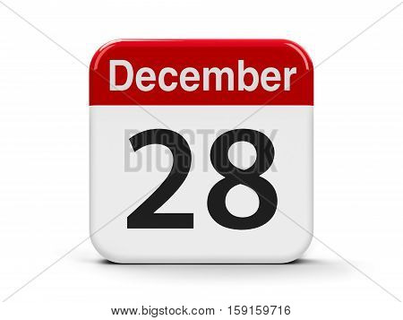 Calendar web button - The Twenty Eighth of December - International Cinema Day three-dimensional rendering 3D illustration