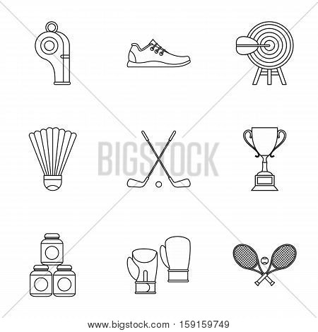 Sports stuff icons set. Outline illustration of 9 sports stuff vector icons for web
