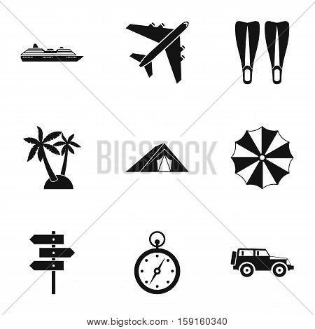 Trip to sea icons set. Simple illustration of 9 trip to sea vector icons for web