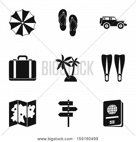 Travel to sea icons set. Simple illustration of 9 travel to sea vector icons for web