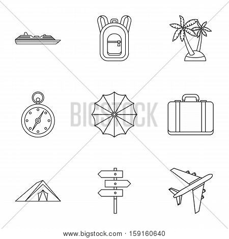 Rest on sea icons set. Outline illustration of 9 rest on sea vector icons for web